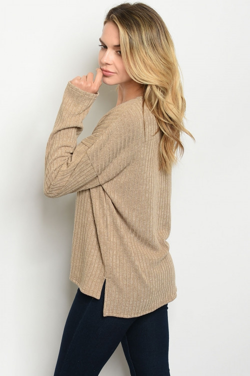LONG SLEEVE VNECK RIBBED TOP - orangeshine.com