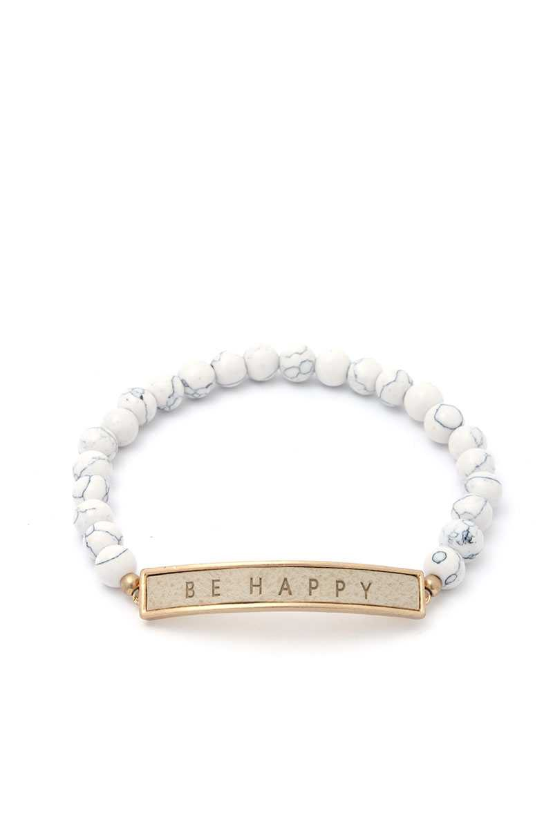 BE HAPPY CURVED PLATE BEAD BRACELET - orangeshine.com
