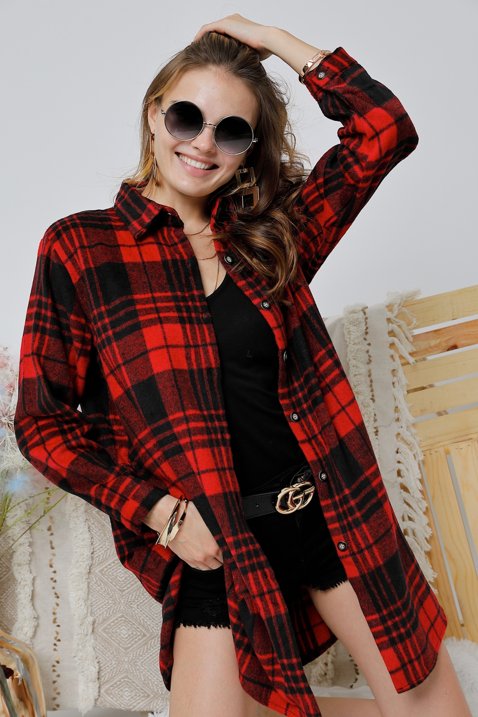 CHECK FLANNEL SHIRTS DRESS W/ LONG S - orangeshine.com