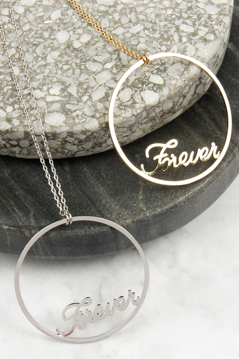 OPEN CIRCLE FOREVER MESSAGE NECKLACE - orangeshine.com