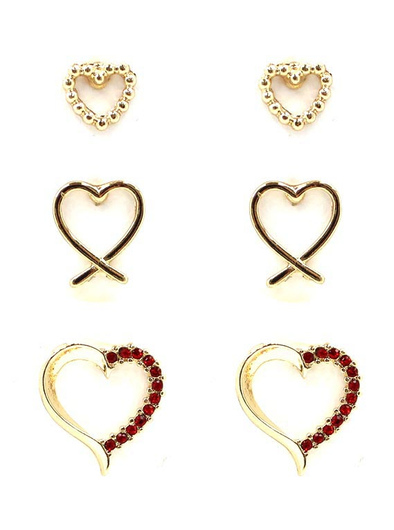 CRYSTAL STONE HEART 3 PAIR EARRINGS - orangeshine.com