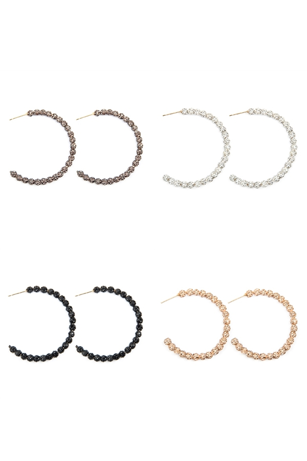 RHINESTONE HOOP EARRINGS - orangeshine.com