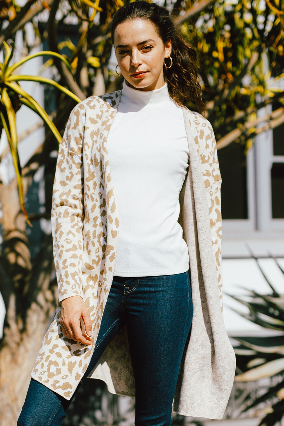 LEOPARD OPEN FRONT SWEATER CARDIGAN - orangeshine.com