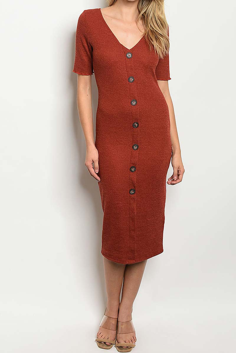 BUTTON FRONT RELAXED FIT MIDI DRESS  - orangeshine.com
