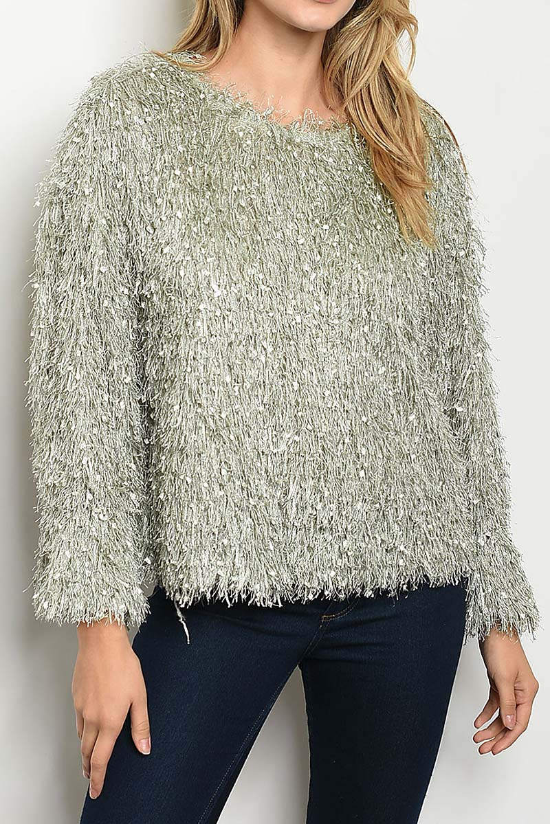 PUFF SLEEVE METALLIC FUZZY SWEATER  - orangeshine.com