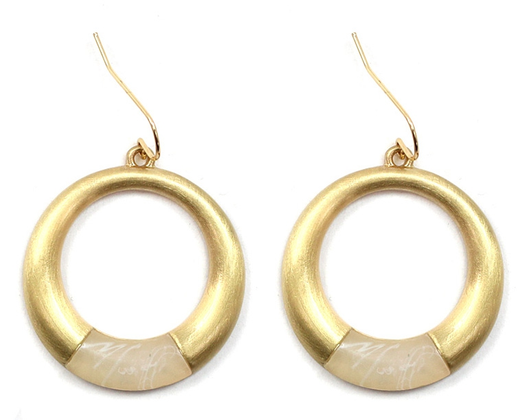 ROUND METAL HOOP STONE EARRINGS - orangeshine.com