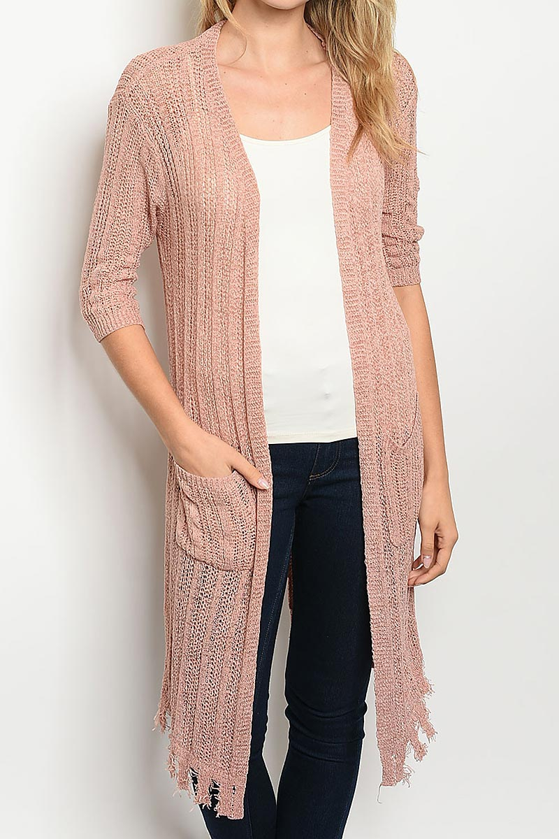 SOLID OPEN FRONT POCKETS CARDIGAN - orangeshine.com