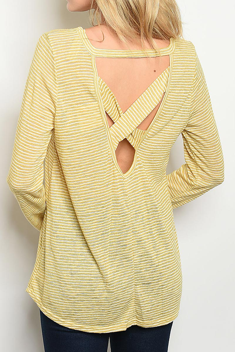STRIPE CRISSCROSS BACK TUNIC TOP - orangeshine.com
