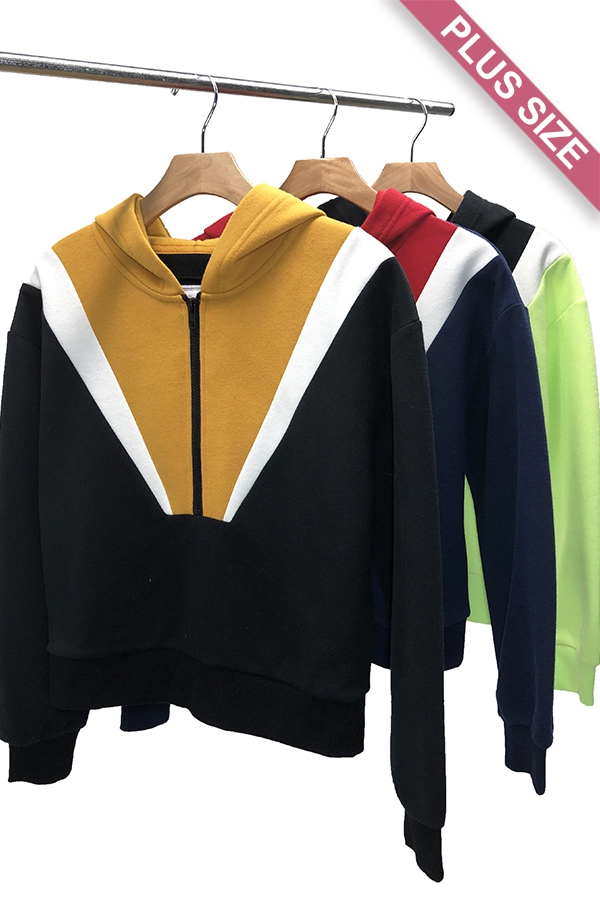 COLOR BLOCK ZIP PULLOVER - orangeshine.com
