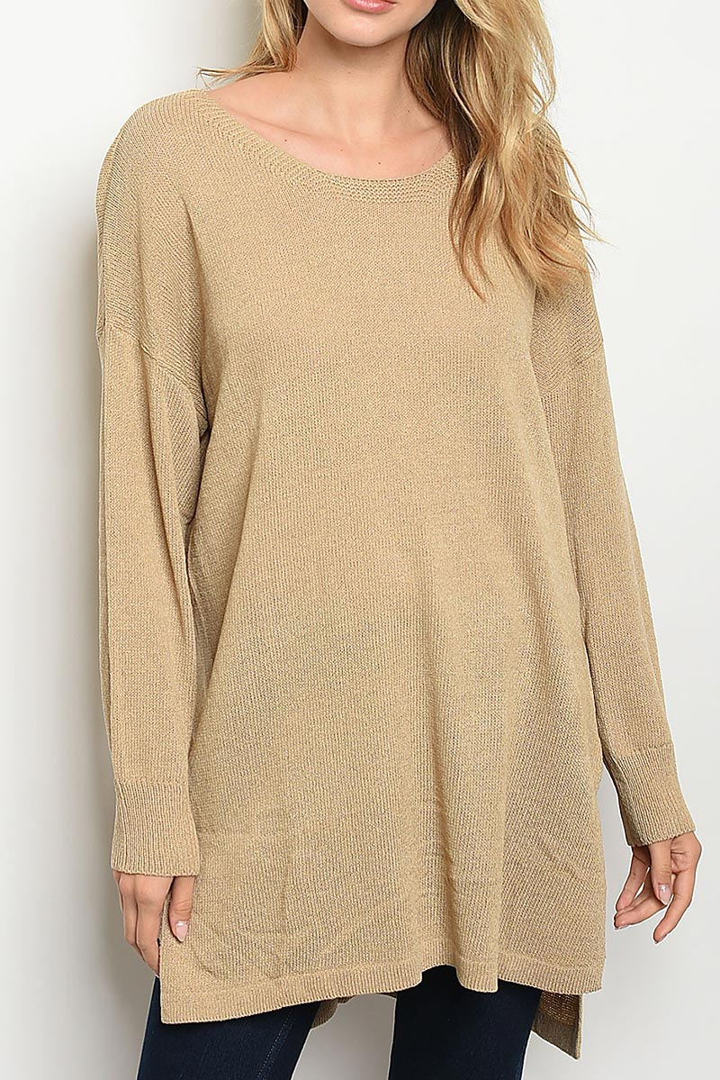 KNIT SLIT HI LO LOOSE FIT TUNIC - orangeshine.com