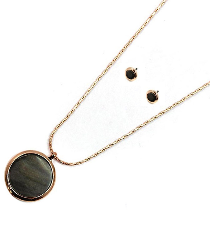 ABALONE ROUND PENDANT NECKLACES SET - orangeshine.com
