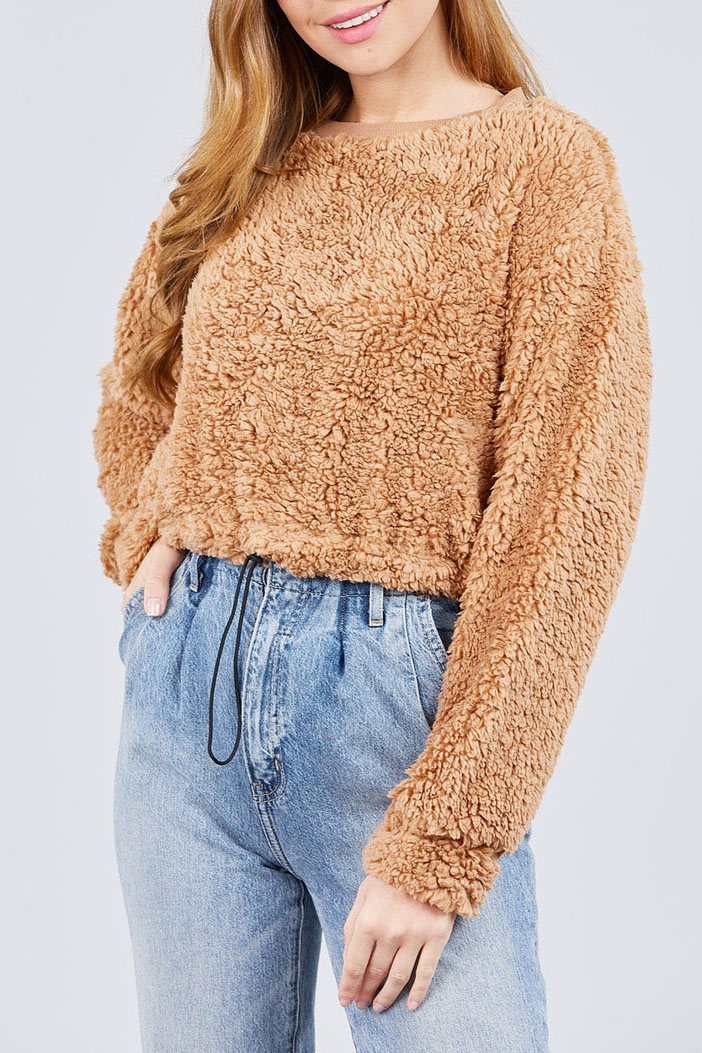 TOGGLE ELASTIC HEM FAUX FUR TOP - orangeshine.com