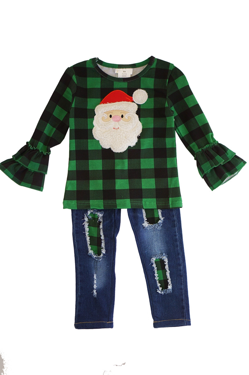 Green plaid santa applique denim - orangeshine.com