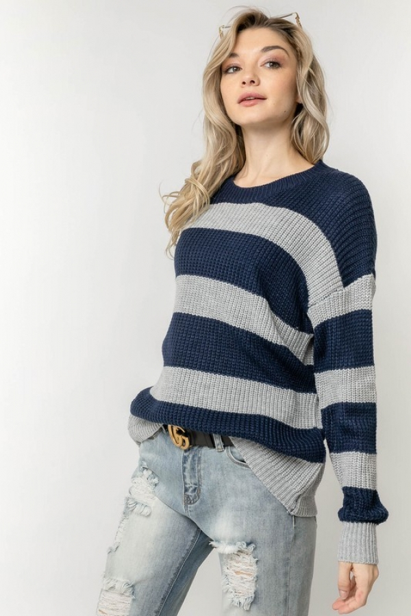 STRIPE COLORBLOCK COZY THICK KNIT SW - orangeshine.com