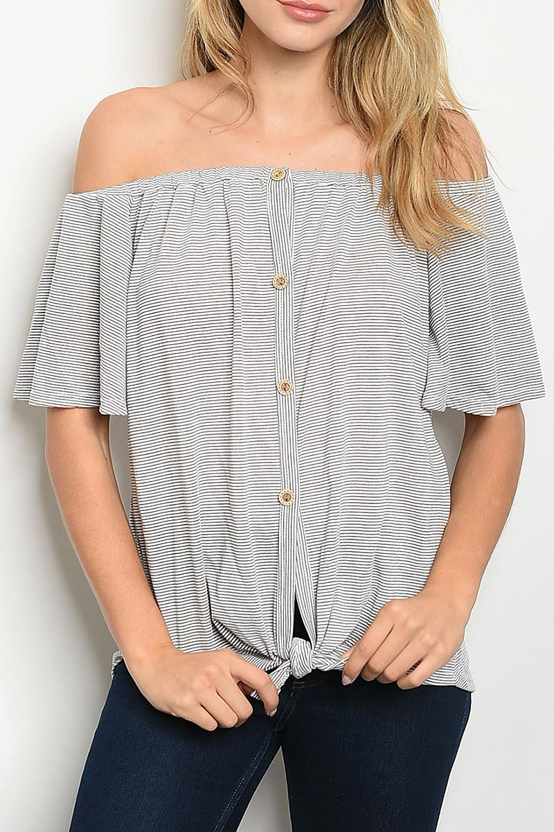 BUTTON DOWN OFF SHOULDER TOP - orangeshine.com