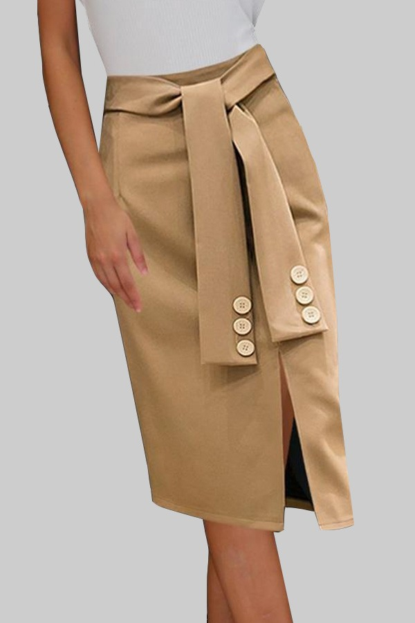 Women button detail long skirt - orangeshine.com