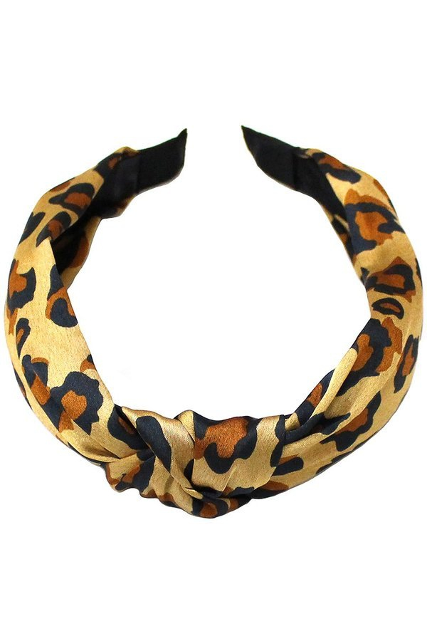 Silk feel leopard print knot head ba - orangeshine.com