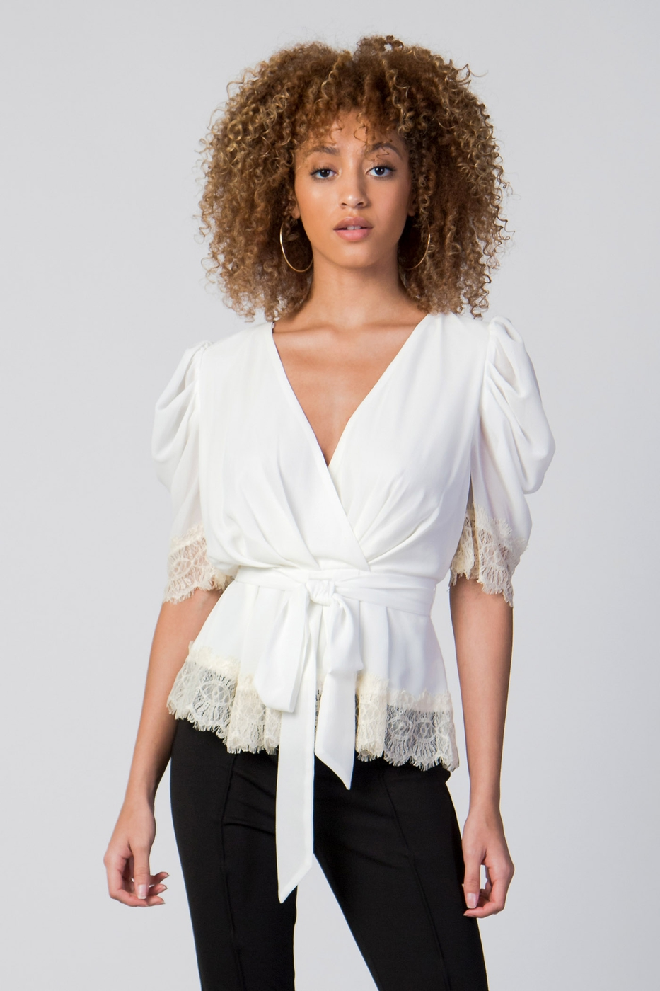 SOLID TOP W SURPLICE NECKLINE - orangeshine.com