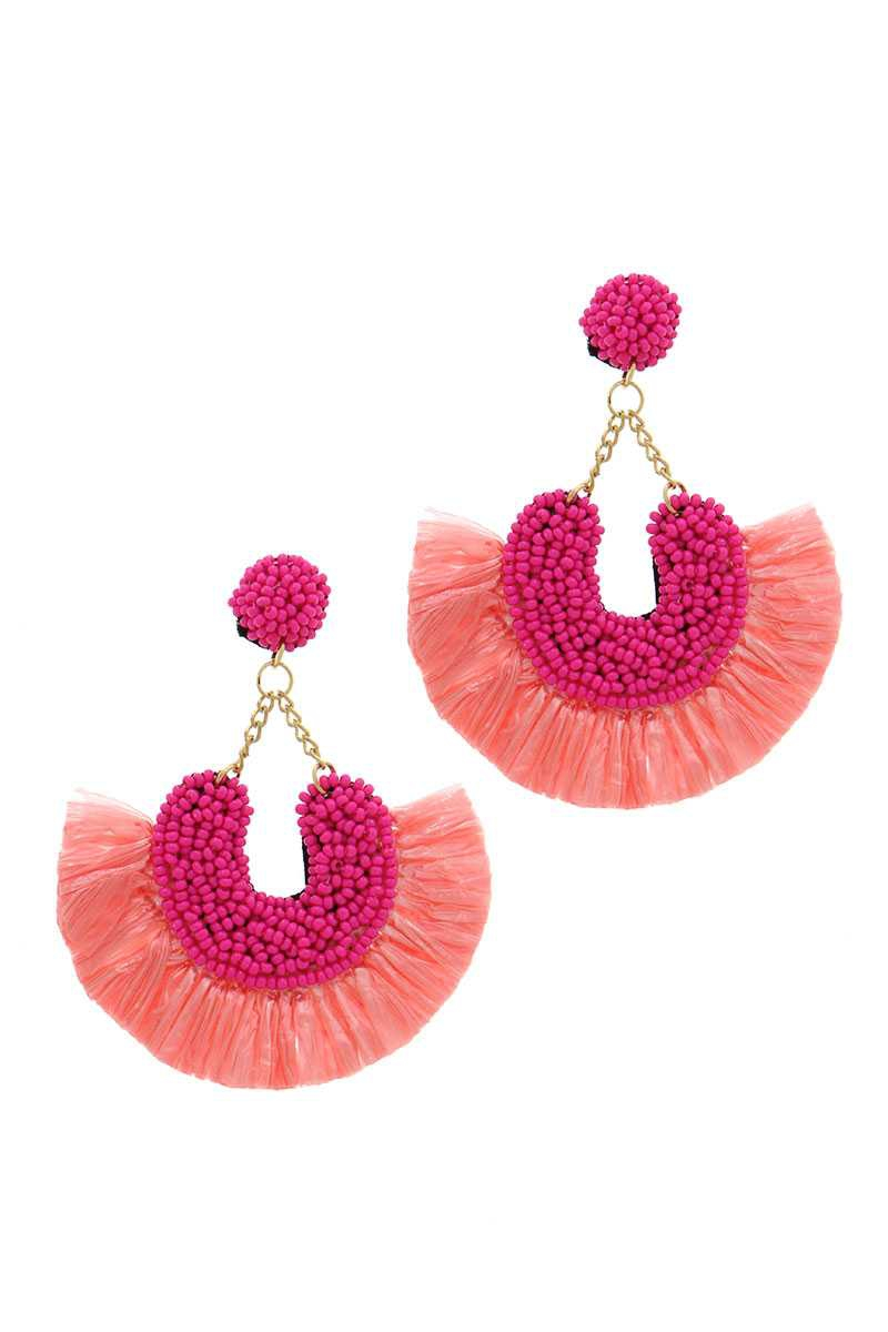 BEADED FAN TASSEL DANGLE DROP EARRIN - orangeshine.com