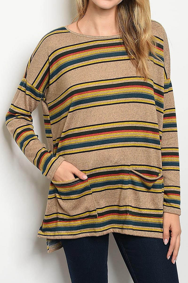 MULTI STRIPE POCKET TUNIC TOP - orangeshine.com