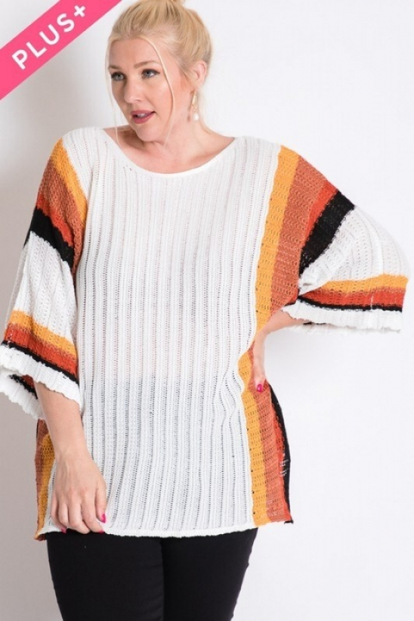 STRIPE ACCENT RIBBEB KNIT SWEATER - orangeshine.com