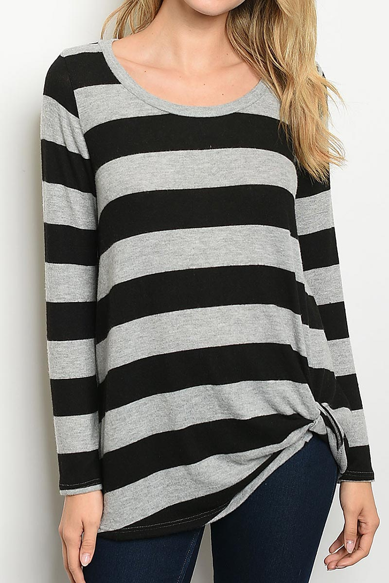 STRIPE TWIST HEM KNIT TUNIC TOP - orangeshine.com