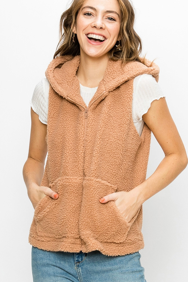 TEDDY ZIP UP VEST WITH HOOD - orangeshine.com