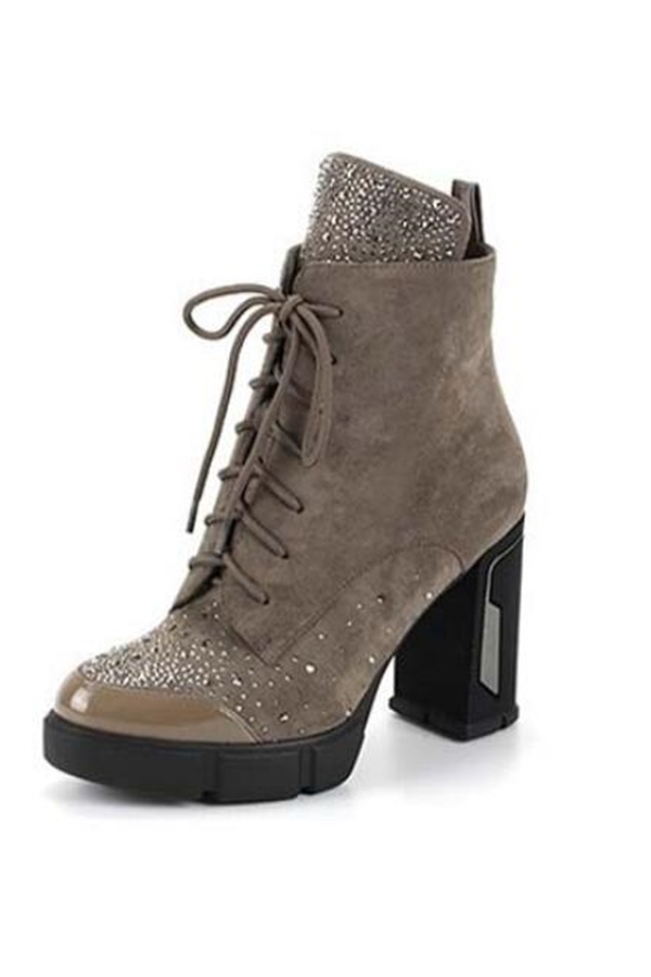 Chunky High Heel  Platform Booties - orangeshine.com