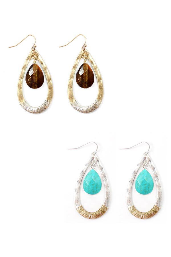 TURQUOISE BEAD TEARDROP EARRINGS - orangeshine.com