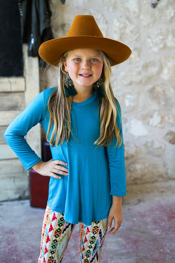 GIRLS TEAL LONG SLEEVE POCKET TEE - orangeshine.com