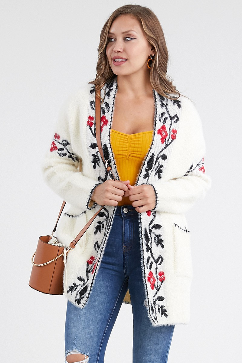 Floral Patterned Placket Cardigan  - orangeshine.com