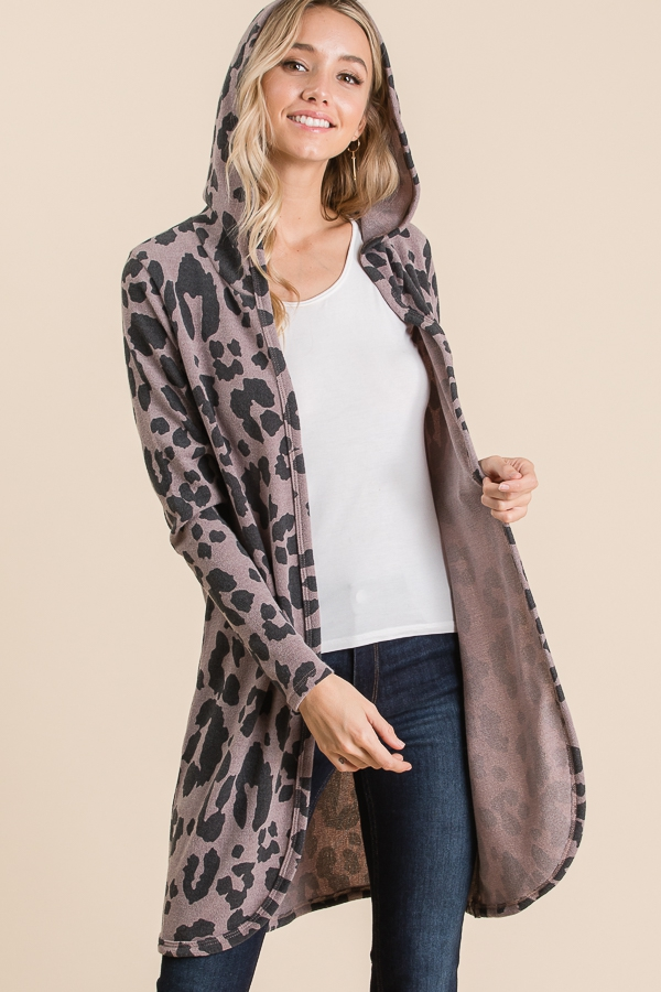 ANIMAL PRINT HOODED CARDIGAN  - orangeshine.com