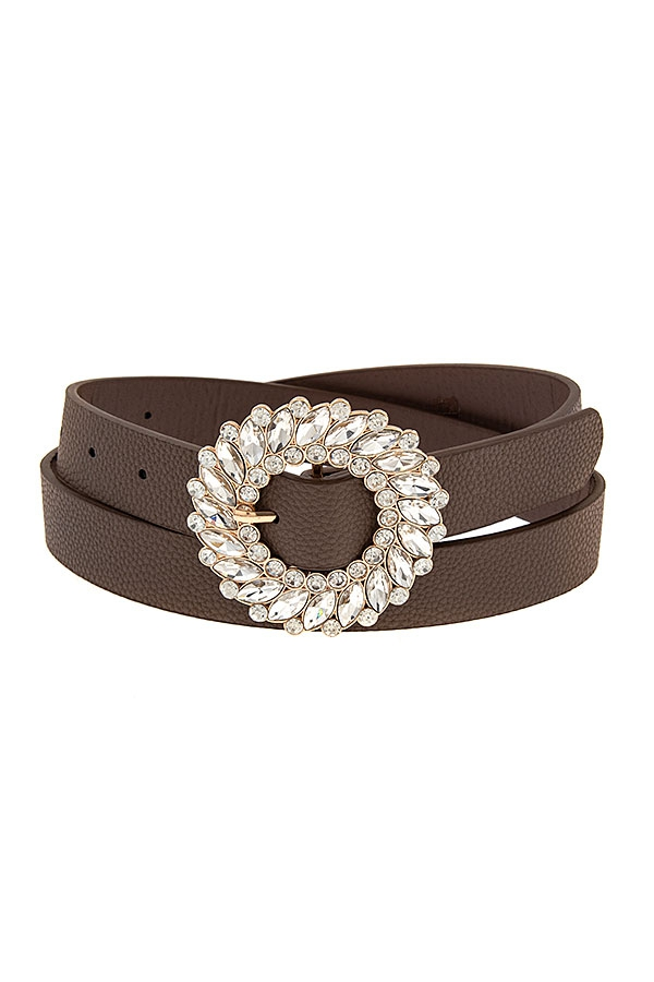ROUND GRYSTAL GEM BUCKLE FASHION BEL - orangeshine.com