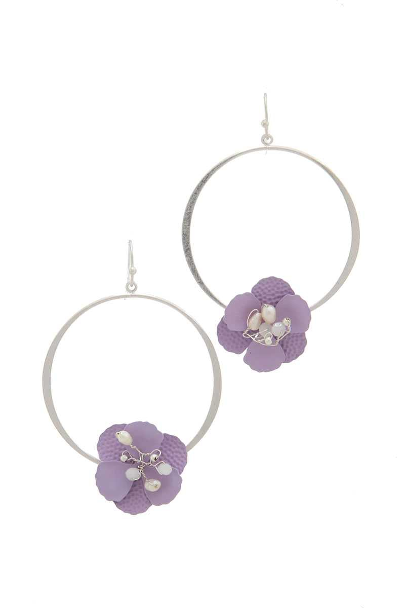 FLOWER SHAPE RING DROP EARRING - orangeshine.com