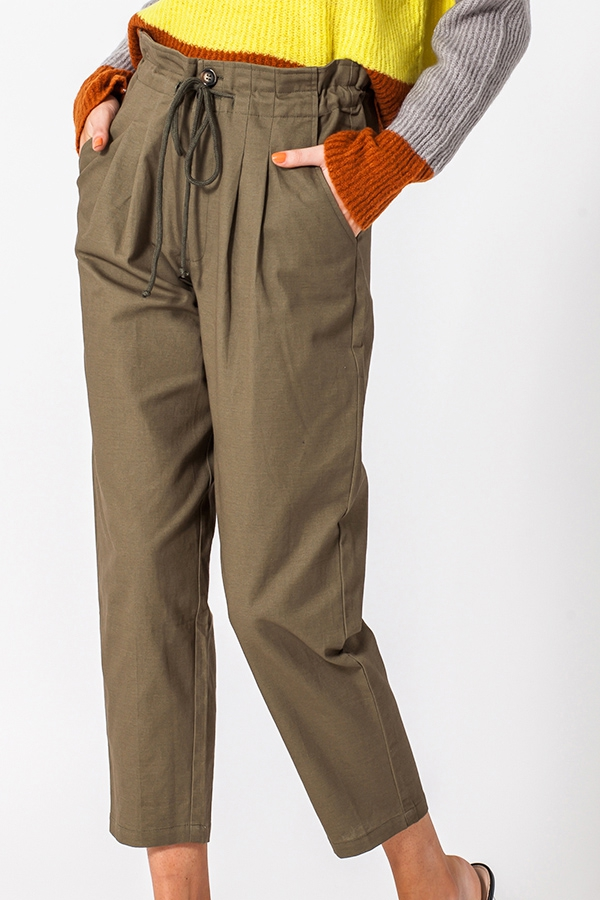 STRAIGHT LEG TROUSER WITH WAIST TIE - orangeshine.com