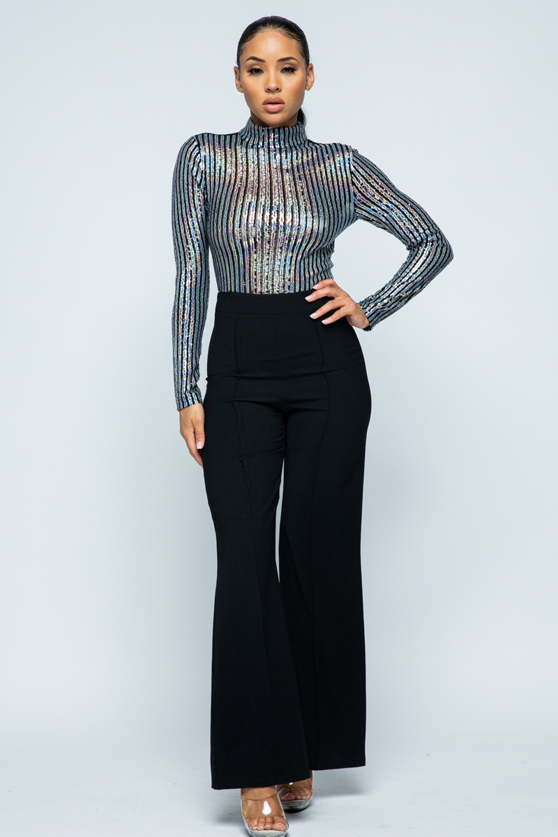 Sequin Fabric See-Through JUMPSUIT - orangeshine.com