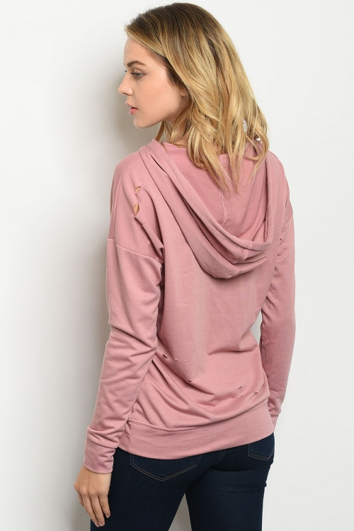 LONG SLEEVE CUT OUT HOODIE TOP - orangeshine.com