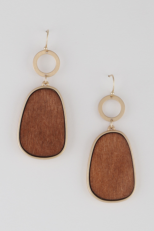 Wood In A Frame Drop Earrings - orangeshine.com