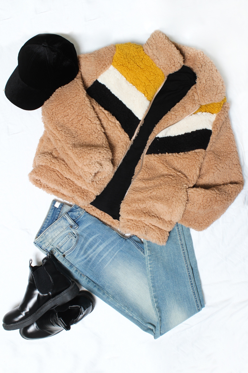 COLORBLOCK ZIP UP FUR JACKET - orangeshine.com