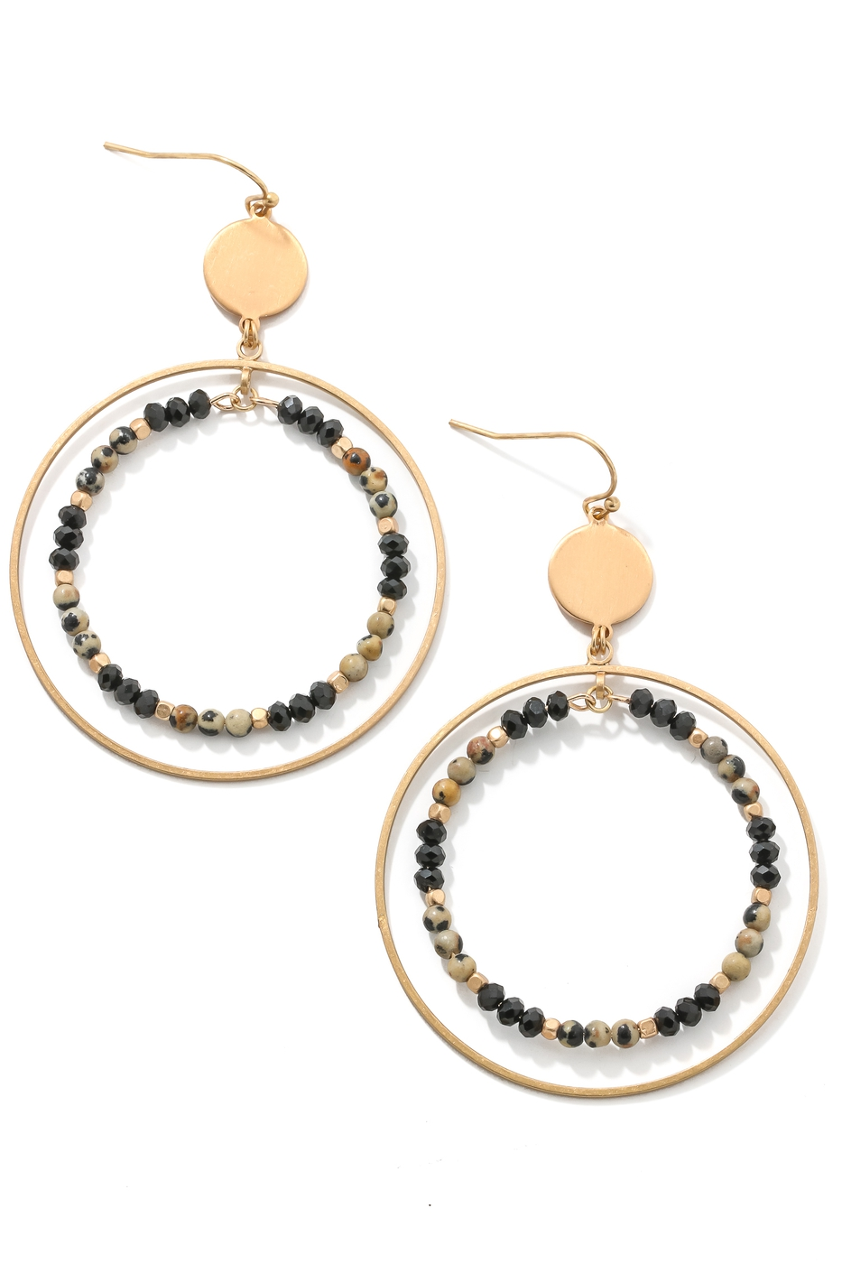 Linked Double Hoop Drop Earrings - orangeshine.com