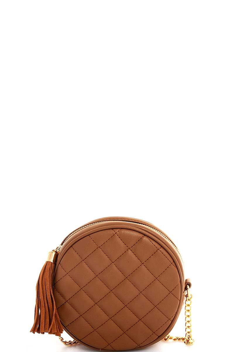 CIRCLE CROSSBODY BAG WITH TASSEL  - orangeshine.com