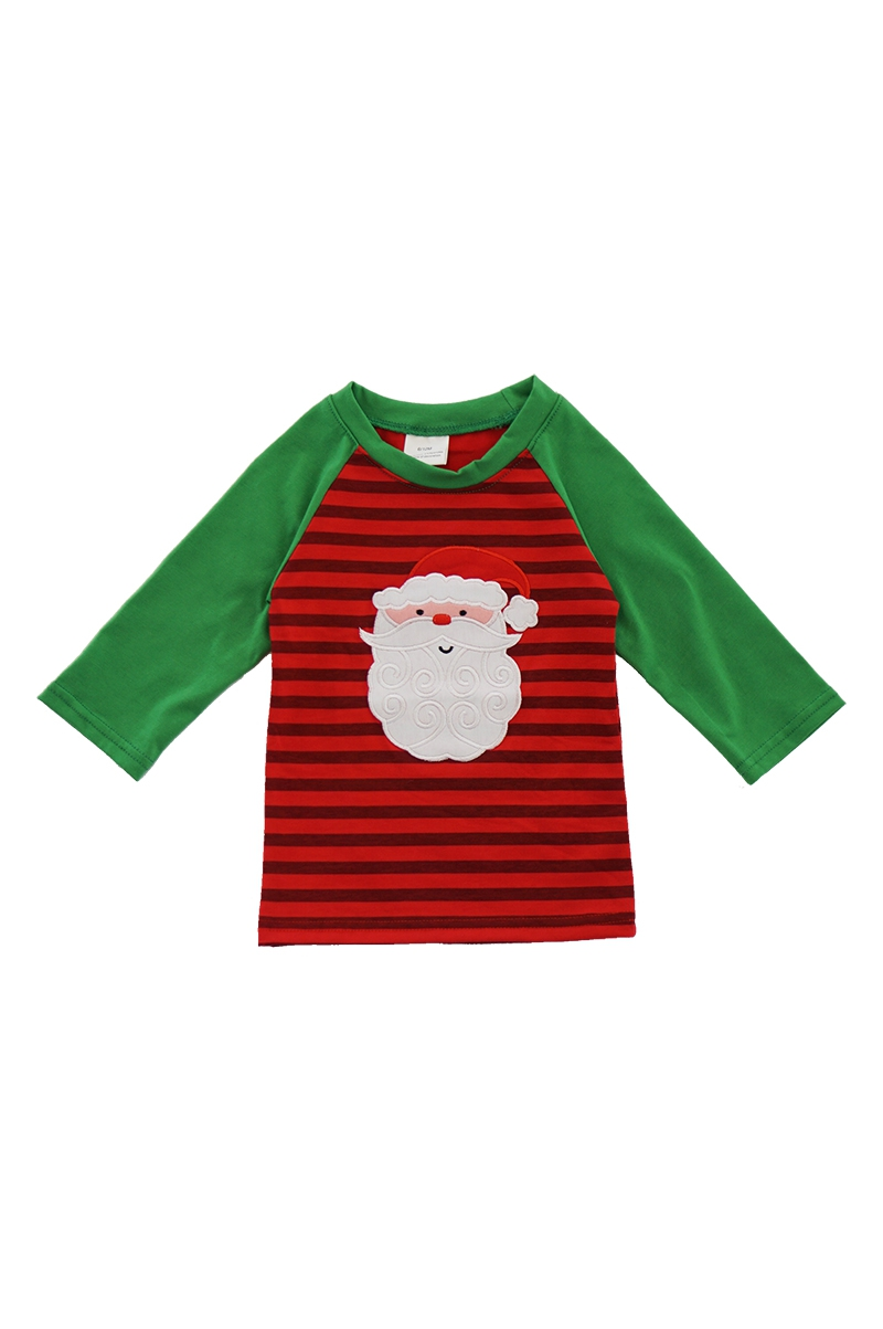 Red green stripe Santa applique - orangeshine.com