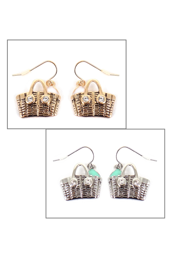 PICNIC BASKET FISH HOOK EARRINGS - orangeshine.com