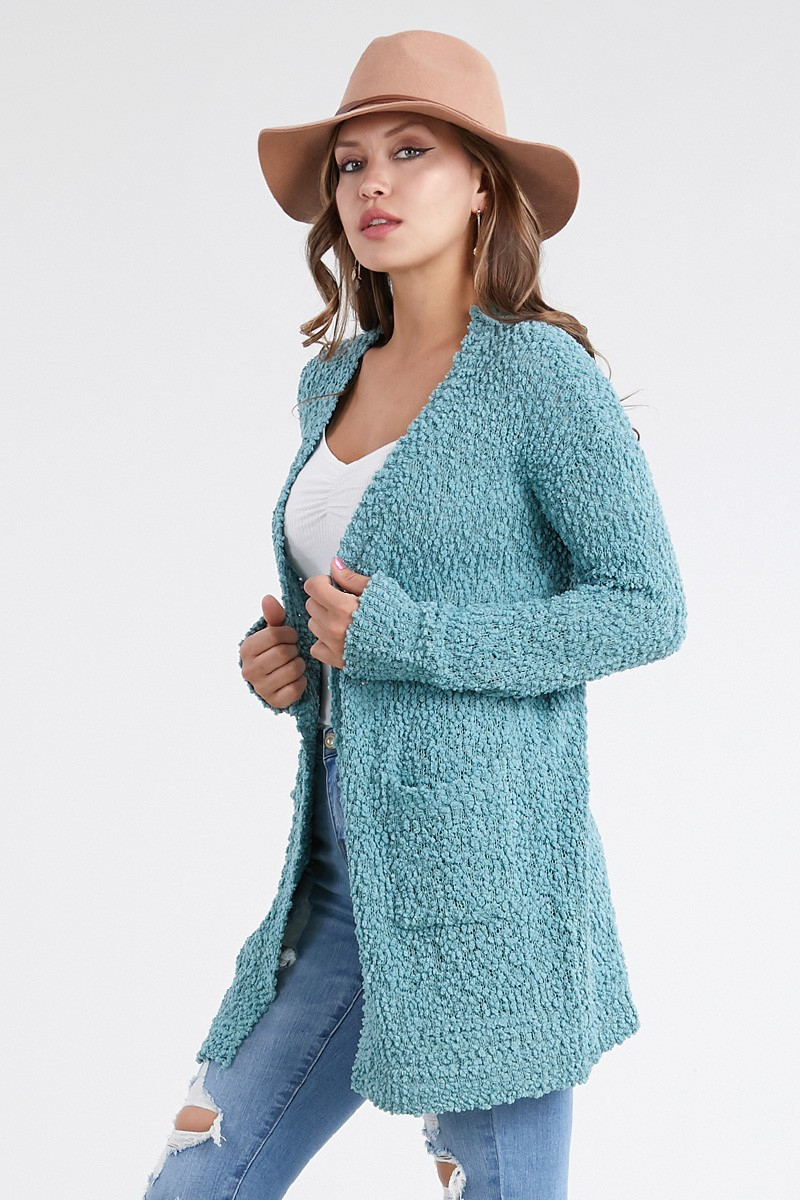 Popcorn Open Front Cardigan Sweater  - orangeshine.com