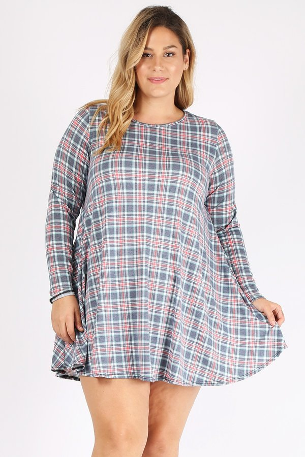 PLUS SIZE PLAID PRINT DRESS WITH POC - orangeshine.com