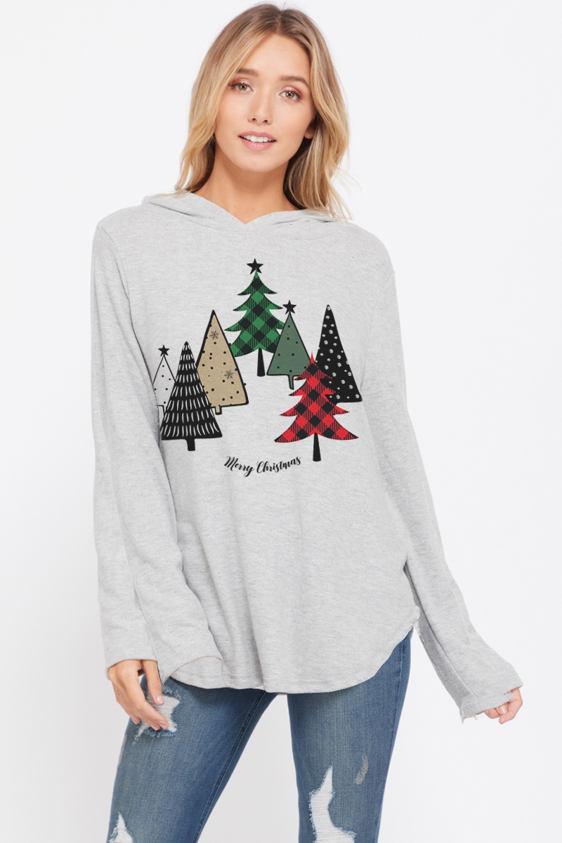 Christmas trees hoodie long sleeve  - orangeshine.com