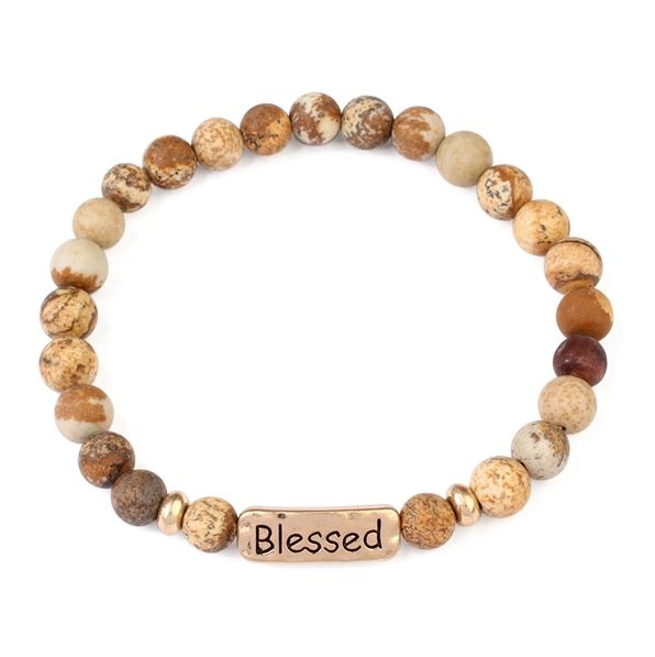 BLESSED NATURAL STONE STRETCH BRACEL - orangeshine.com