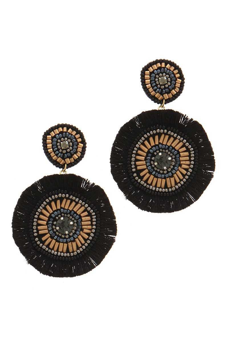 CIRCLE BEADED TASSEL DROP EARRING - orangeshine.com