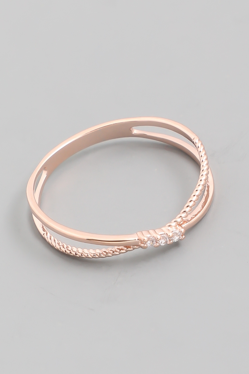 Delicate Double Band Rope Ring - orangeshine.com