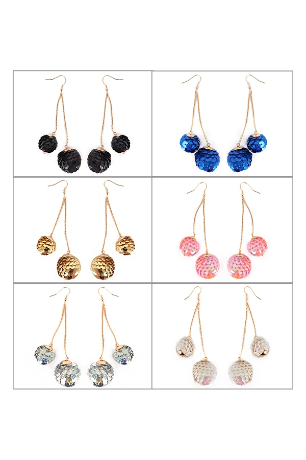 SEQUINS BEAD SPANGLE BALL EARRIGS - orangeshine.com